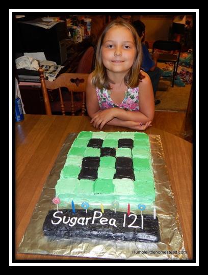 Easy Minecraft Creeper Cake Humble Little Homestead